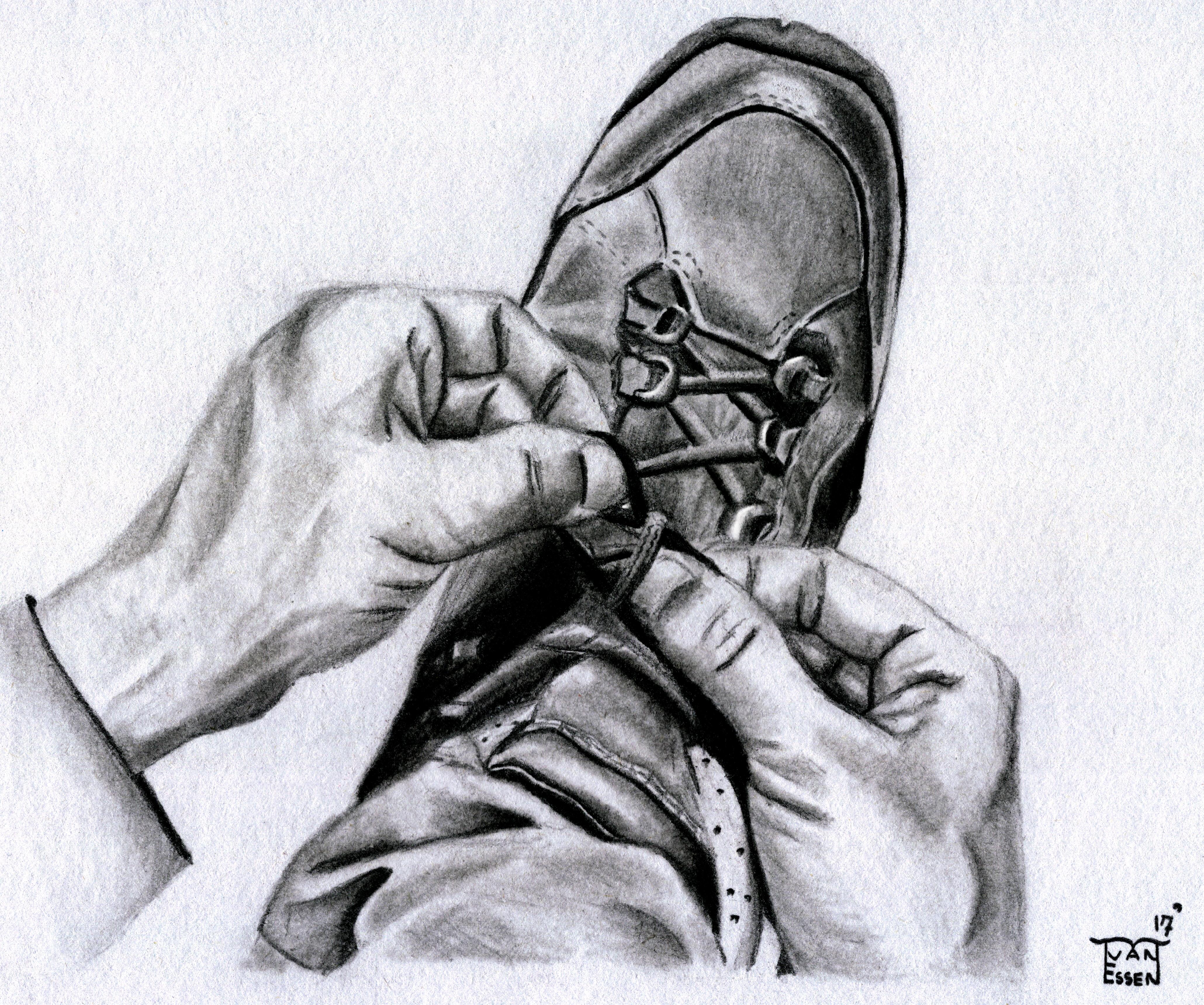 Tekening van handen die een strik maken